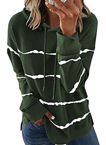 SMENG Sweatshirt Damen Hoodie Oversize Longsleeve Sport Hoody Lockere Kuschel Baumwoll Pullover Loungewear Gestreiftes Bequemer Pullunder Grün XL