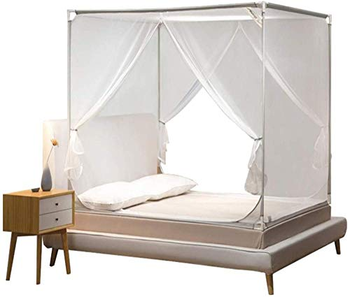 NYANGLI Home Mosquito Bed Net Single and Double Bed Bed Canopies & Drapes Three-Door Zipper Mosquito Net of Folding and Free Installation-1.20mX1 92mX1.40m_Gray