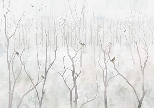 decomonkey Fototapete Baum 350x256 cm XL Tapete Fototapeten Vlies Tapeten Vliestapete Wandtapete moderne Wandbild Wand Schlafzimmer Wohnzimmer Vogel Wald Vintage