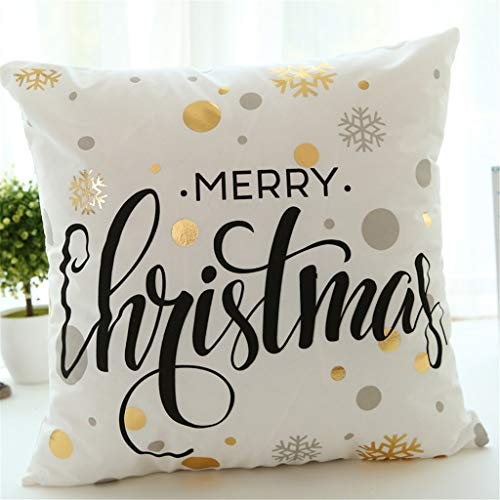 Christmas Pillow Cases Pillow Case Sofa Throw Cushion Cover Home Decor, Hot Stamping Letter Series Xmas Pillowcase Glb002-1, White