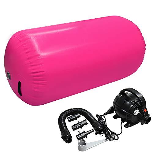 Home U Air Roll - Ruedas hinchables para yoga o gimnasia, con bomba, 120 x 90 cm, color rosa