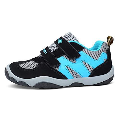 Unpowlink Kinder Schuhe Sportschuhe Ultraleicht Atmungsaktiv Turnschuhe Klettverschluss Low-Top Sneakers Laufen Schuhe Laufschuhe für Mädchen Jungen 28-37 (29 EU, Rosa) (40 EU, 807-grau)