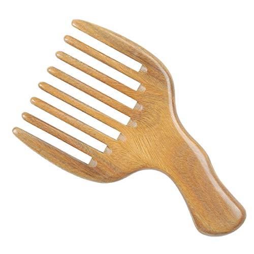 Pettine di legno Pettine districante a denti larghi Antistatico Sandalo Verde Pettine fatto a mano per capelli groviglio/Barba riccia