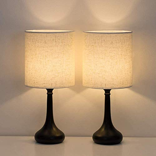 HAITRAL Juego de 2 lámparas de mesa modernas para mesita de noche, sencillas lámparas de escritorio para dormitorio, salón, oficina, negro