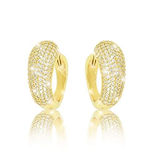 PAVEL´S Damen Creolen SHINE 18 Karat Gold plattiert glänzende Zirkonia in AAAAA Qualität Braut Hochzeit Ohrringe in einer hochwertigen Schmuckbox mit Echtheits-Zertifikat