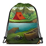 Lmtt Mochila con cordón, bosque con lago y montañas, deportes, gimnasio, mochila, bolsa de viaje