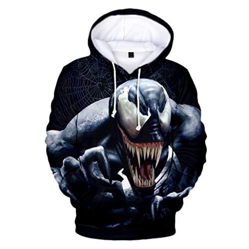 nihiug Enfants Sweats à Capuche 3D Graphique pour Enfants Garçons Filles Pull à Capuche Superhero Venom Hoodie Sweater Halloween Pâques Bal costumé,E-L