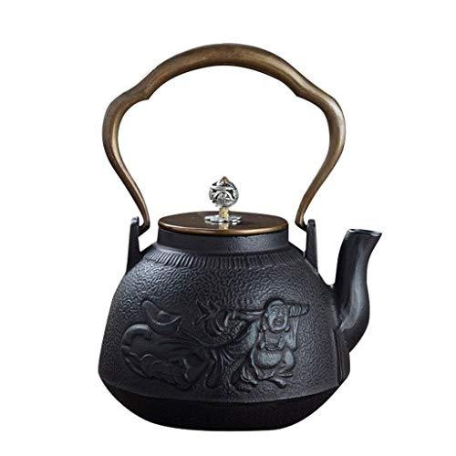 ZUIZUI Tetera de Hierro Fundido 1.0l Mango de Cobre/Tapa de Estilo japonés de Estilo de té de Estilo japonés, sin recubrirse, Pared Interior Oxidado Hecho a Mano