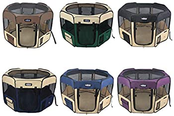 EliteField 2-Door Soft Pet Playpen Exercise Pen Multiple Sizes and Colors Available for Dogs Cats and Other Pets  48  x 48  x 32 H Brown+Beige