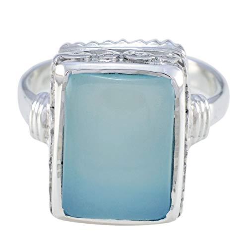 joyas plata gute edelsteine achteckige form ein stein cabochon aqua chalcedon ring - sterling silber aqua chalcedon ring - dezember geburt schütze astrologie gute edelsteine ring