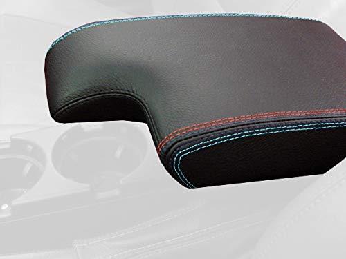 RedlineGoods Cubierta de apoyabrazos Compatible con BMW 3-Series E46 1999-04 Cuero Negro Perforado Costura Plata
