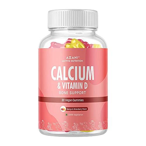 Azani Active Nutrition Calcium & Vitamin D Bone Support Gummies for Adults & Kids |Healthy diet supplement for strong bones (Mango & Strawberry Flavour) – 30 vegan gummies
