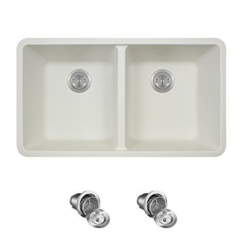 802 Double Equal Bowl Quartz Kitchen Sink, White, Basket Strainers