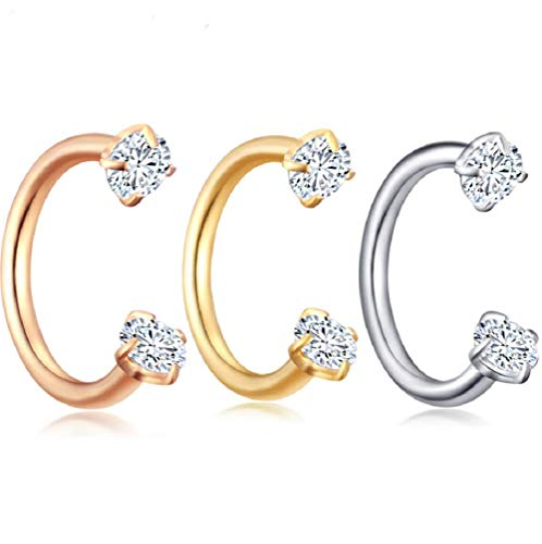LMCIEZR Double Diamond Crystal Clear Fashion Nose Ring Nose Ring Nose Ring Hoop CZ Body Ear Piercing -Sparkly Crystal Nose Ring (Golden)