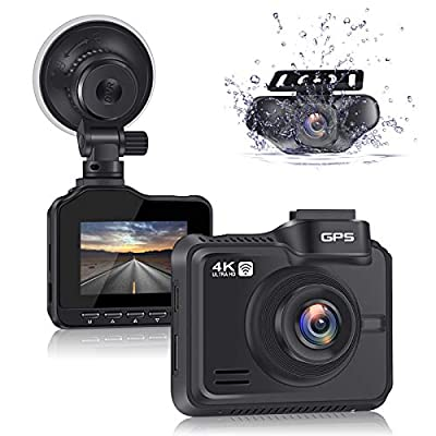 Lifechaser Dual Dash Cam 4K 3840x2160P +1080P Front and Rear Car Camera, 8MP CMOS, WiFi, GPS, Night Vision, 170? Wide Angle, Parking Mode, WDR, Time Lapse, G-Sensor for Cars, Truck