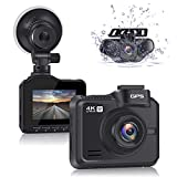 Lifechaser Dual Dash Cam 4K 3840x2160P +1080P Front and Rear Car Camera, 8MP CMOS, WiFi, GPS, Night Vision, 170° Wide Angle, Parking Mode, WDR, Time Lapse, G-Sensor for Cars, Truck
