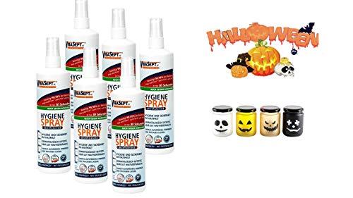 VibaSept Hygiene Spray - 6 x 250 ml + LED Flacker Halloween LED Mini im Glas mit Deckel auch für aussen