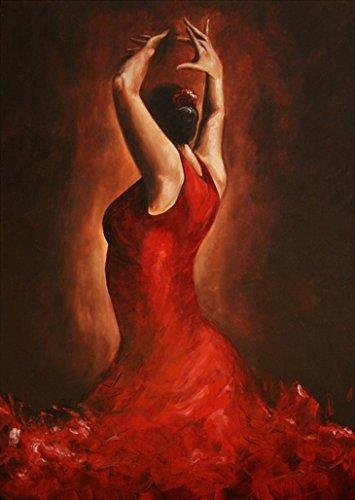 Quadro moderno ballerina di flamenco, dimensioni 60/90cm, Tabella verticale, Pittura moderna all' Olio su telaio in legno, lavagna firmato. Tabella dipinto a mano. Nessun lavoro di stampa.