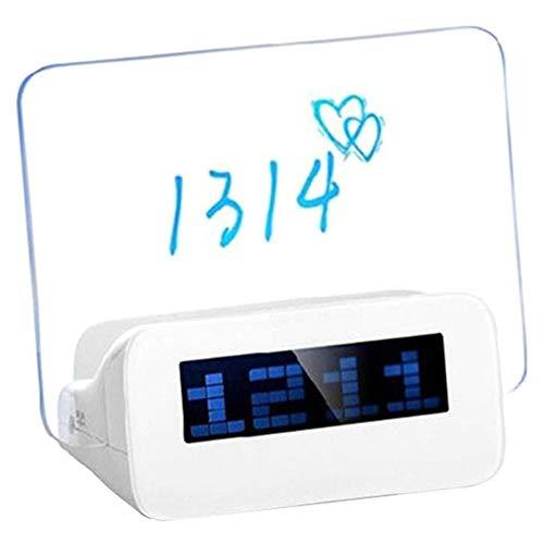 Monique Creative LED Backlight Message Board Digital Alarm Clock Erasable Memo Board Clock