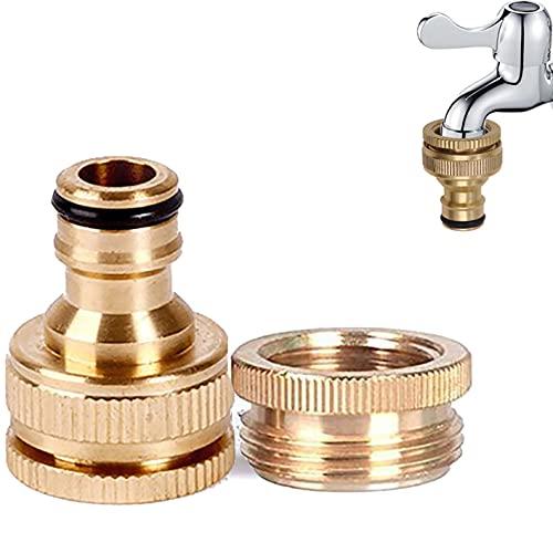 Wasserhahnanschluss für Gartenschlauch, Messing, 1,27 cm (1/2 Zoll) 20 mm auf 3/4 Zoll (25 mm) Außengewinde, Schnellhahn-Anschluss, Messingschlauch-Armaturen, Wasserschlauch-Wasserhahn-Adapter
