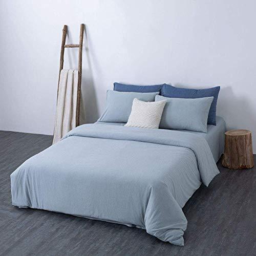 KELITINAus 3 4-teiliges Baumwoll-Bettlaken-Set, einfarbige Bettbezug-Sets, Tagesdecken-Set, Bettdeckenbezug, Bettbezug, Bettwäsche-Set, Steppdecke, Baumwollbezug, Grün Twin, Azurblau, voll