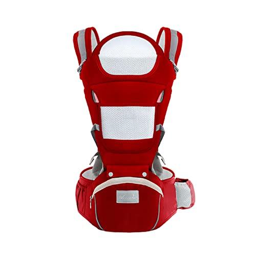 JMung Mochila Portabebés Transpirable con Asiento de Cadera para Niños Pequeños de 0 a 36 Meses, Algodón Puro Portabebé Ergonómico Acolchado para Estar cómodo, posición M Garantizada,2