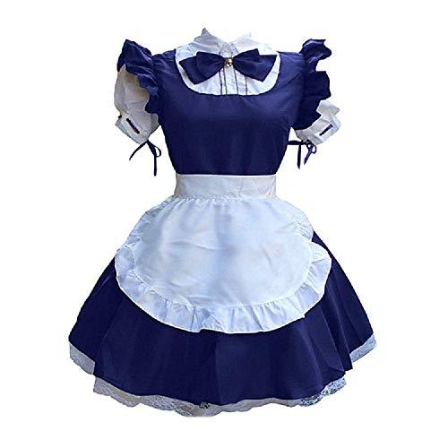 BellaPunk Damen French Maid Costume Dress kostüm Sexy Lolita Kleid Cosplay Uniform Schwarz 4 pcs (XXL, Dunkelblau)