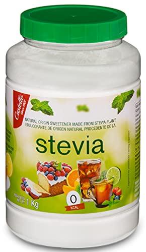 Edulcorante Stevia + Eritritol - Granulado - Sustituto del Azúcar 100% natural - Hecho en España - Keto y Paleo - Castello since 1907 (1g = 3g de Azúcar (1:3), Bote 1 kg)