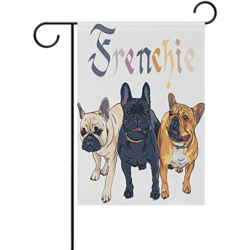 Starotor French Bulldog Garden Flag Double Sided House Yard Flag Holiday Seasonal Outdoor Flag 12' x 18'