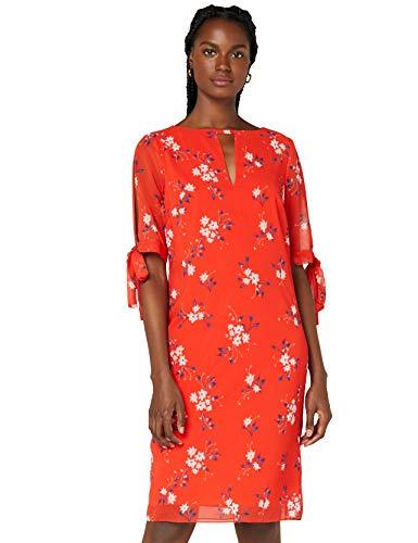 Amazon-Marke: TRUTH & FABLE Damen Chiffon-Kleid mit A-Linie, Mehrfarbig (Red Daisy), 42, Label:XL