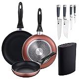 Set 3 sartenes Ø16/20/24 cm, aluminio prensado, aptas para inducción + Set 4 cuchillos de cocina: Chef, Santoku, Pelador y muliusos, mango en silicona + Tacoma universal para organización de cuchillos