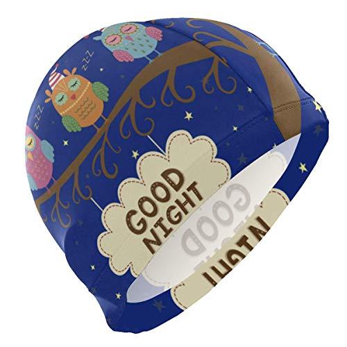 Tcerlcir Gorro Natación Gorro de Navidad Búho con Luna Gorro de Piscina para Hombre y Mujer Hecho de Silicona Ideal para Pelo Largo y Corto