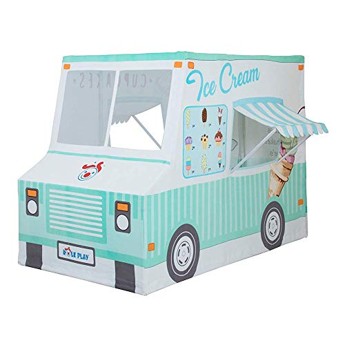 Role Play Deluxe Ice Cream & Cup Cakes Food Truck Playhouse Premium Indoor & Outdoor Kids Play Tent-100% Cotton Canvas Fabric Shell, Durable Steel Frame, Window awnings, Support arms - Made in India
