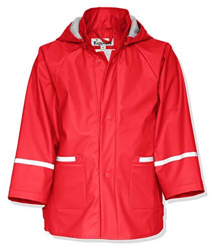 Playshoes Kinder Regenjacke-Mantel mit abnehmbarer Kapuze, Rot (8 rot), Gr. 128