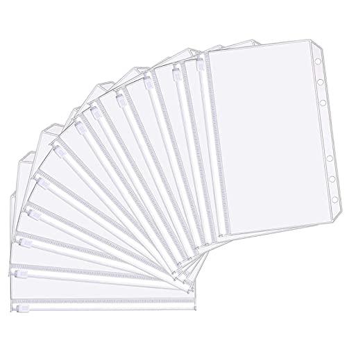 Hyxodjy 12 Piezas Bolsas de Carpeta de 6 Agujeros Sobres de Plastico A5 con Cremallera de Tamaño A5 Transparente PVC Bolsas Impermeables de Hojas Sueltas para Documentos Cuadernos Tarjetas