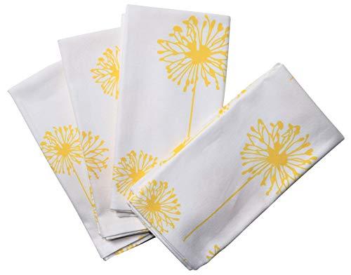 Yellow Dandelion Cotton Cloth Napkins - Crabtree Collection - Yellow Dandelion (Set of 4)