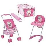 Hauck Toys For Kids Lot pour Poupée - Poussette Canne, Chaise Haute et Lit Parapluie style Hello Kitty - Rose