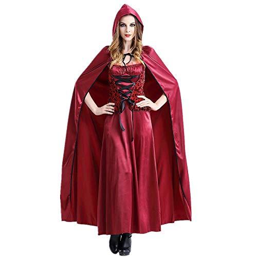 Halloween Disfraz para Mujer, Traje de Caperucita Roja Capa con Capucha Largo Vestidos Carnaval Clubwear Disfraces Vestidos Halloween Costume Fiesta Maxi Vestidos Retro Vintage RISTHY