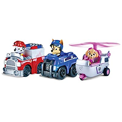 Paw Patrol Racers 3-Pack Vehicle Set, Rescue Marshall, Spy Chase, and Skye from Spin Master