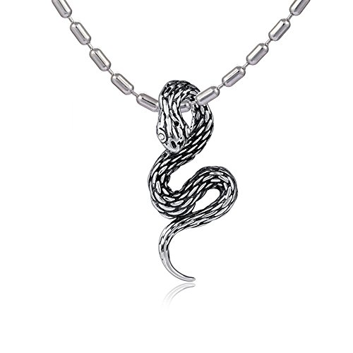 DonDon - Collana in acciaio inossidabile, da uomo, lunghezza 55 cm, con ciondolo a forma di serpente in acciaio inossidabile con zirconi bianchi, in sacchetto di velluto