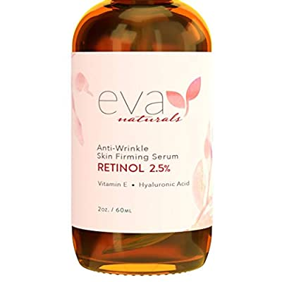 Retinol Serum 2.5% by Eva Naturals (60 ml, Double-Sized Bottle) - Best Anti-Aging Serum, Minimizes Wrinkles, Helps Prevent Sun Damage, and Fades Dark Spots - Vitamin A Retinol with Hyaluronic Acid by Eva Naturals