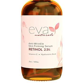 Eva Naturals Anti-Aging Retinol Serum For Face - Pro 2.5% Retinol Formula Packed With Hyaluronic Acid Vitamin E & Aloe Vera - Boost Collagen Reduce Fine Lines/Wrinkles & Fade Dark Spots  XL- 2 Oz