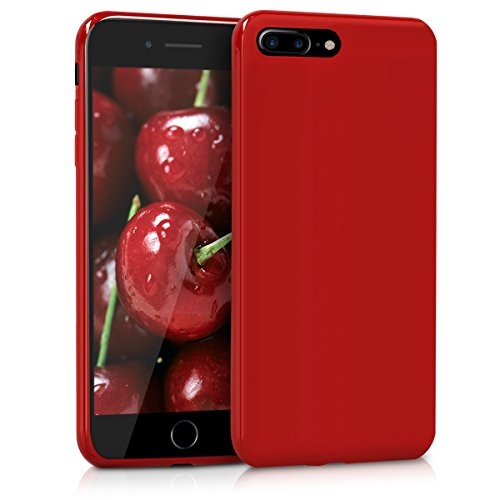 kwmobile Funda Compatible con Apple iPhone 7 Plus / 8 Plus - Carcasa de TPU Silicona - Protector Trasero en Rojo Mate