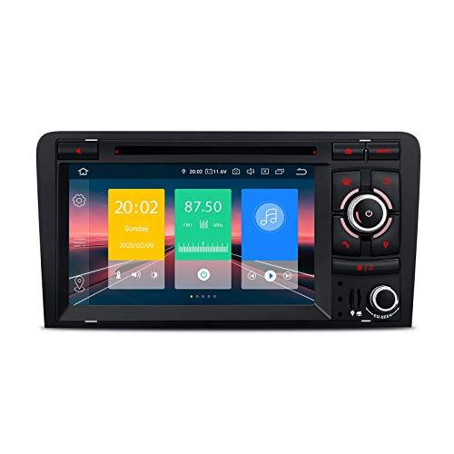 7 pulgadas Doble Din Android 10.0 Radio estéreo para automóvil Reproductor de DVD Unidad principal Navegación GPS Soporte Plug and Play Car Auto Paly Bluetooth5.0 WIFI DVR DAB + para Audi A3 S3 RS3 -