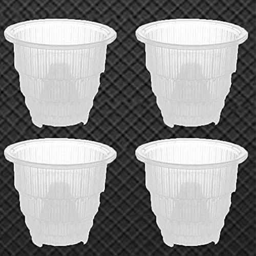FAFAD 4 vasi in plastica traspirante in plastica, vasi trasparenti da fiori con fori per piante coltivate in casa e giardino
