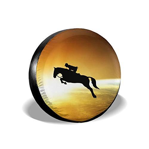 Xhayo Horse Show Jumping - Cubierta universal para neumáticos, impermeable, a prueba de polvo, para remolques, RV, SUV y muchos vehículos (negro, diámetro 14-17 pulgadas)