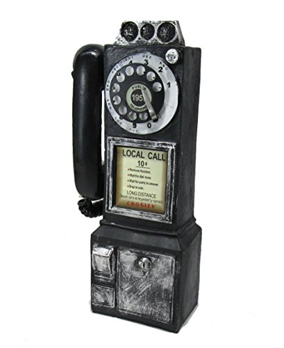 【Woliwowa】 ビンテージ風 外国の 公衆電話 ローカルコール モチーフ 壁掛け オブジェ (ブラック) [並行輸入品]