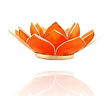Trimontium TL12002S Teelichthalter in Form Einer dreiblättrigen Lotusblüte, Durchmesser Circa 14 cm, Capiz-Muschel, Info, Aluminium, Orange, ca. 14 x 14 x 5 cm