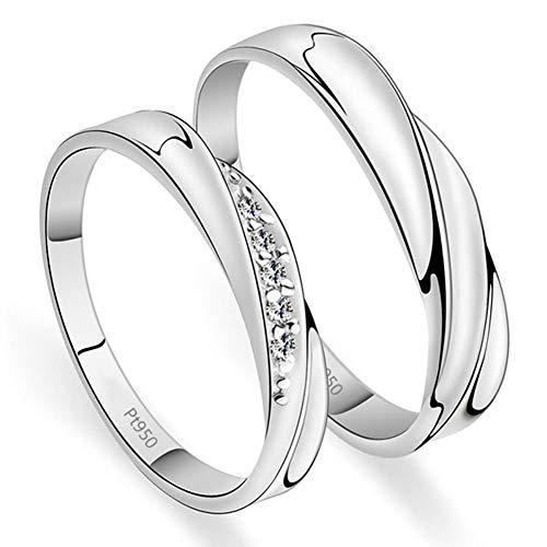 Geplatineerd sterling zilver Ripple Waves Design paar ringen heren trouwringen (damesring met moissanite)