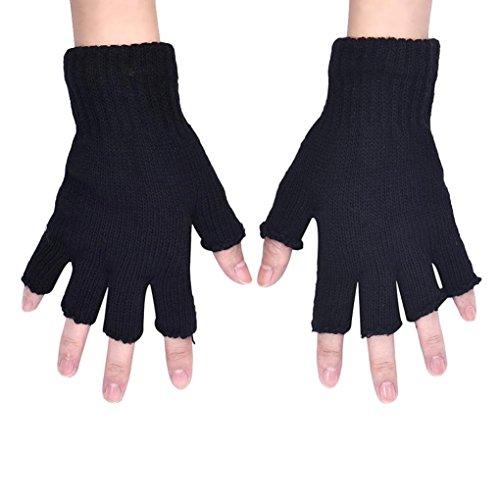 Gants, Kolylong® Black Men Tricoté Extensible éLastiques Half Finger Chaud Mitaines